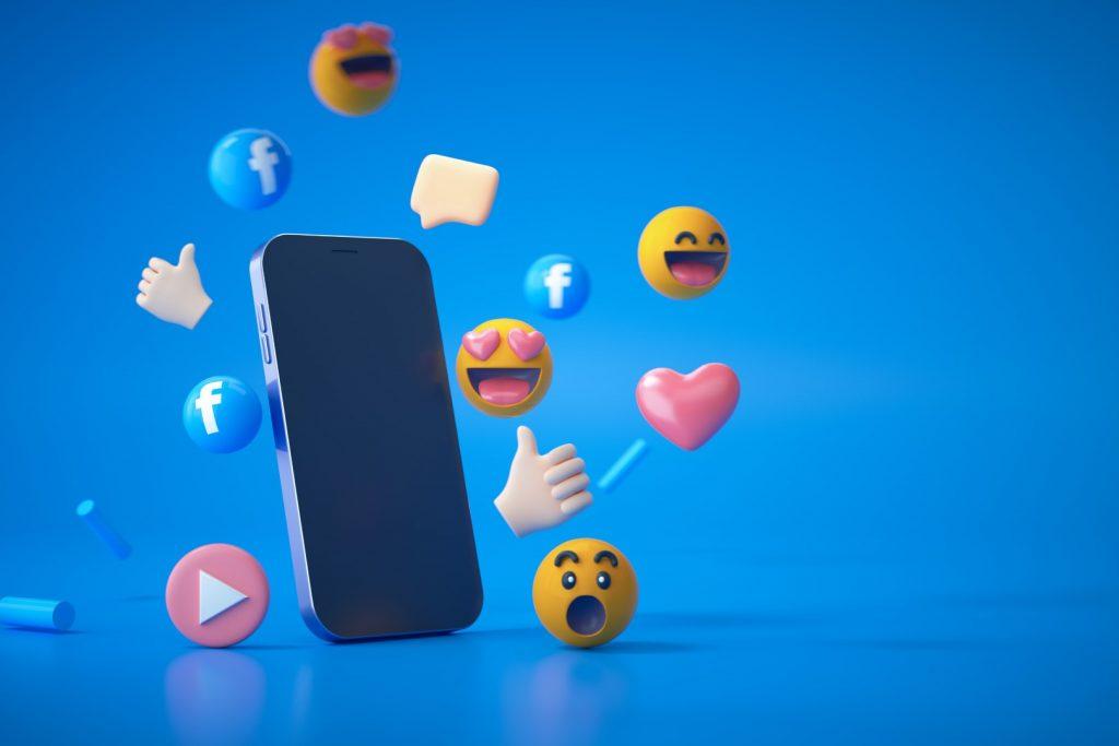 3d rendering social media facebook logo emoji reactions with smartphone blue Large