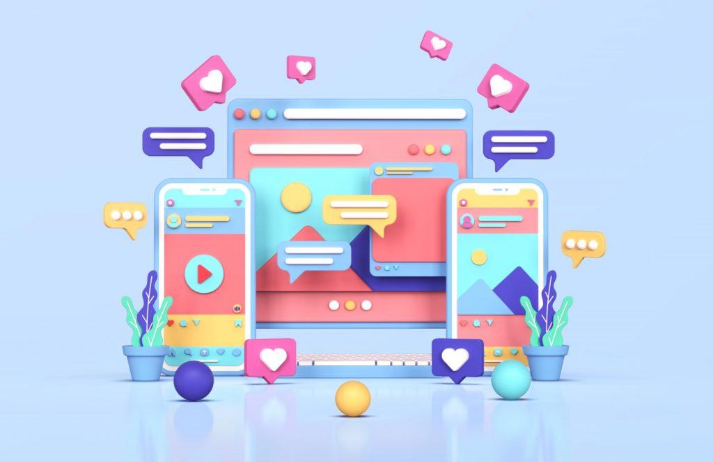 social media instagram digital marketing concept 3d rendering Large